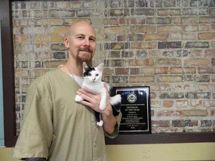 當喵星人進入監獄...「貓咪每天和最兇惡的犯人關在一起」囚犯竟然發生這樣的改變:感人