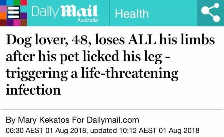 舔一舔就讓你斷手斷腳!男子被狗舔不到20天就死亡 可怕的是這非個案...:要很小心啊