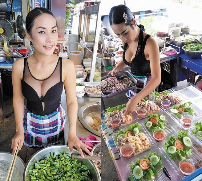 泰國小吃攤女店員煎雞蛋「辣雪乳大放送」還沒吃就飽了!私下「超凶狠車頭燈生活照」全網暴動!(影片)